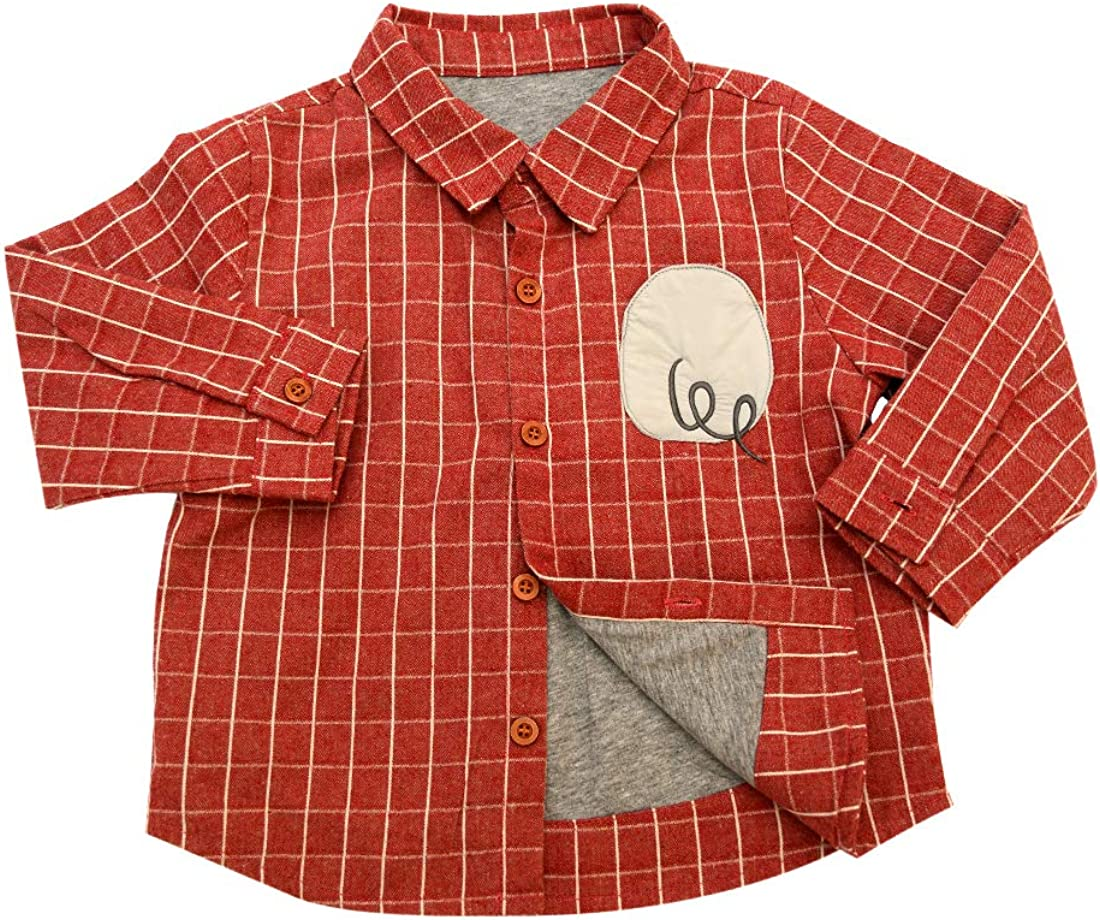Toddler Boys Soft Cotton Red Button Down Shirt 1-6 Y