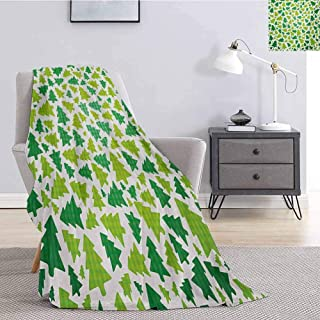 Christmas Commercial Grade Printed Blanket Simplistic Fir Pine Tree Silhouettes with Checkered Pattern Queen King W60 x L50 Inch Fern Green Apple Green White