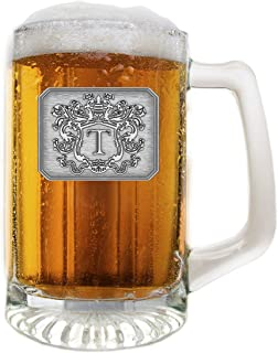 Glass Beer Pub Mug Hand Crafted Monogram Initial Pewter Engraved Crest with Letter T by Fine Occasion (T, 25 oz)