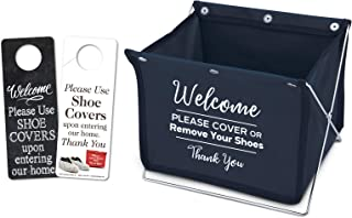 Foldable Shoe Cover Holder (Blue) with Bonus: Please Use Shoe Covers, Double Sided, Door Hanger