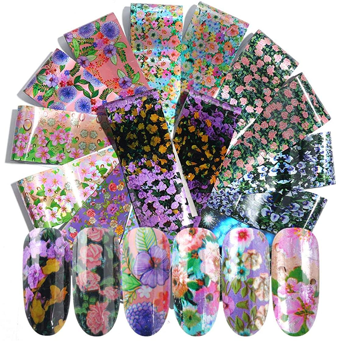 16 pieces/set of colorful nail polish stickers nail art decoration summer flower design transfer glue paste flower nail tips