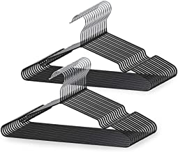 LEEPWEI ハンガー 洗濯ハンガー 30本組 ブラック高品質 PVC特殊ラバー加工 洗濯 スーツ スリム 薄い 頑丈 ラック 収納 hanger ズボン (メーカー保証12ヶ月)