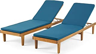 Madge Oudoor Modern Acacia Wood Chaise Lounge with Cushion (Set of 2), Teak and Blue