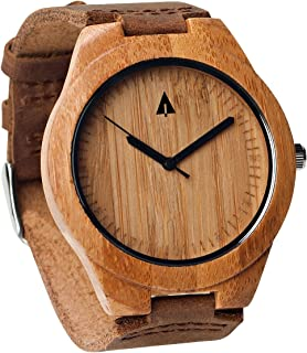 Mens Wooden Bamboo Watch with Genuine Brown Leather Strap Quartz Anal.