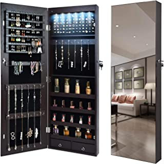 QUANYOU 6 LED Lights Lockable Full Mirror Full Screen Jewelry Organizer Wall Mounted/Door Mounted/Jewelry Cabinet Jewelry ...