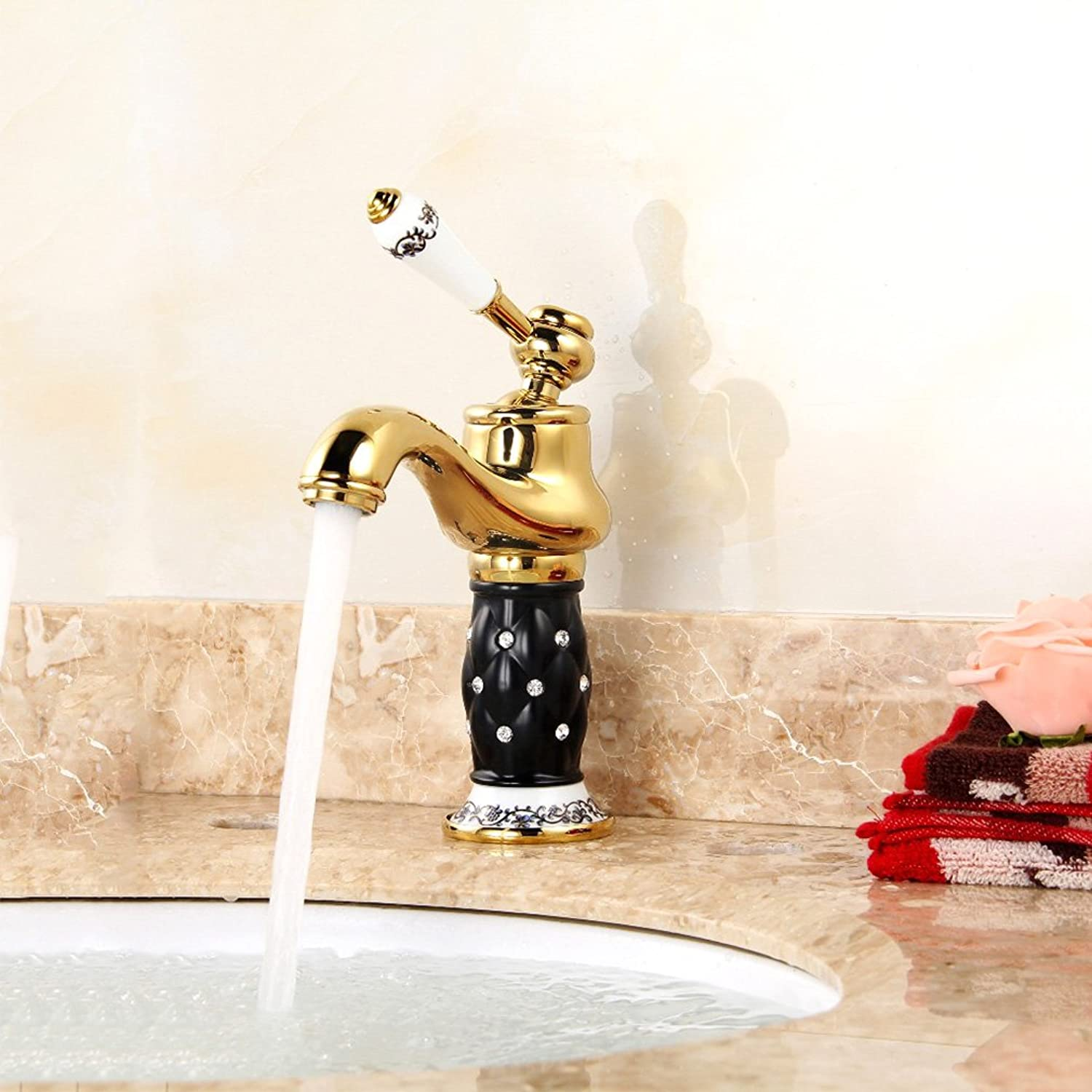 QJIAXING Bathroom Basin Faucet Antique gold-Plated Copper Single Handle With Diamond Ceramic Base golden Hot And Cold Mixer Sink Taps,Blackgold