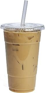[100 Sets - 24 oz.] Plastic Cups With Flat Lids