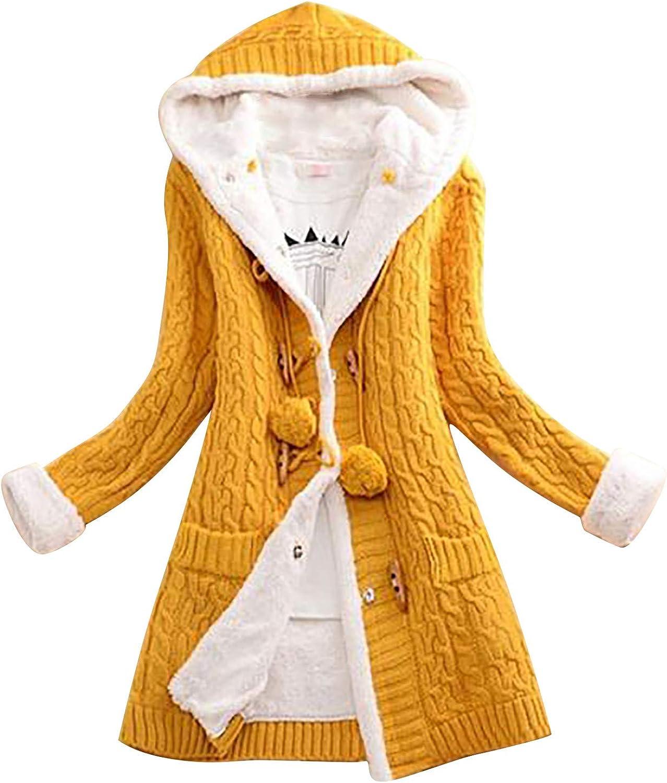 FABIURT Womens Fashion Button Up Knit Hoodies Sweater Tunic Sweatshirt Casual Long Sleeve Hoodie Outerwear Cardigan Coat