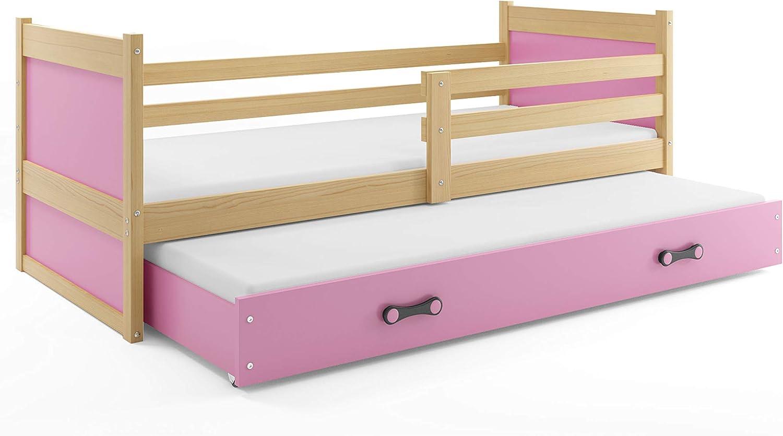 Bilira_Kids Jugendbett Funktionsbett Kinderbett Holzbett Bettkasten Ausziehbett Gstebett Doppelbett 90x200 Holz Massiv Bett