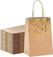 NewIncorrupt 10st Gift Bag Kraft Paper Bag Met Handvat Recyclebaar Geel Leer Liefde Handtas Verjaardag Bruiloft Kerstviering