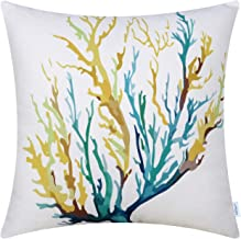 CaliTime Canvas Throw Pillow Cover Shell for Couch Sofa Home Decoration Aquarelle Painting Print 18 X 18 Inches Sea Coral Tree Yellow Teal