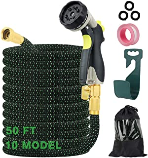 AerWo 50ft Expandable Garden Hose Water Hose with 10 Function Spray Nozzle and Durable 4 Layers Latex 3/4'' Solid Brass Fi...