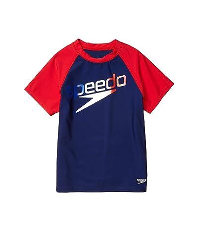 Speedo Kids Short Sleeve Speedo Logo Rashguard (Big Kids) (Red/White/Blue) Girl