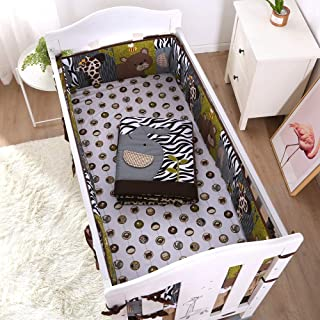 Jungle Themed Baby Bedding - 1 Crib Quilt, 1 Fitted Crib Sheet, 1 Bed Skirt, 4 Bumper Pads, Cotton, Polyester Material - Made to Last - Microfiber Material Avoids Shrinkage During Wash