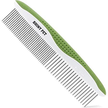 Dog Comb for Removes Tangles and Knots - Undercoat Rake for Dogs & Cats - Grooming Tool with Stainless Steel Teeth and Ergonomic Grip Handle - Pet Hair Comb for Home Grooming Kit - Ebook Guide