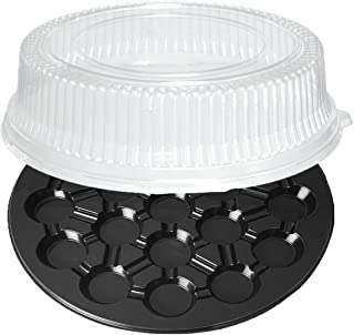 Party Essentials 16-Inch Round 19-Cavity Cupcakes Trays, Black with Clear Dome Lids, Set of 2