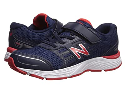 New Balance Kids 680v5 Hook and Loop (Little Kid/Big Kid) (Pigment/Velocity Red) Boys Shoes