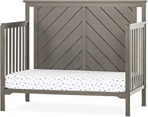 Forever Eclectic Hampton Flat-Top 4-in-1 Convertible Baby Crib, Flat Top, Dapper Gray