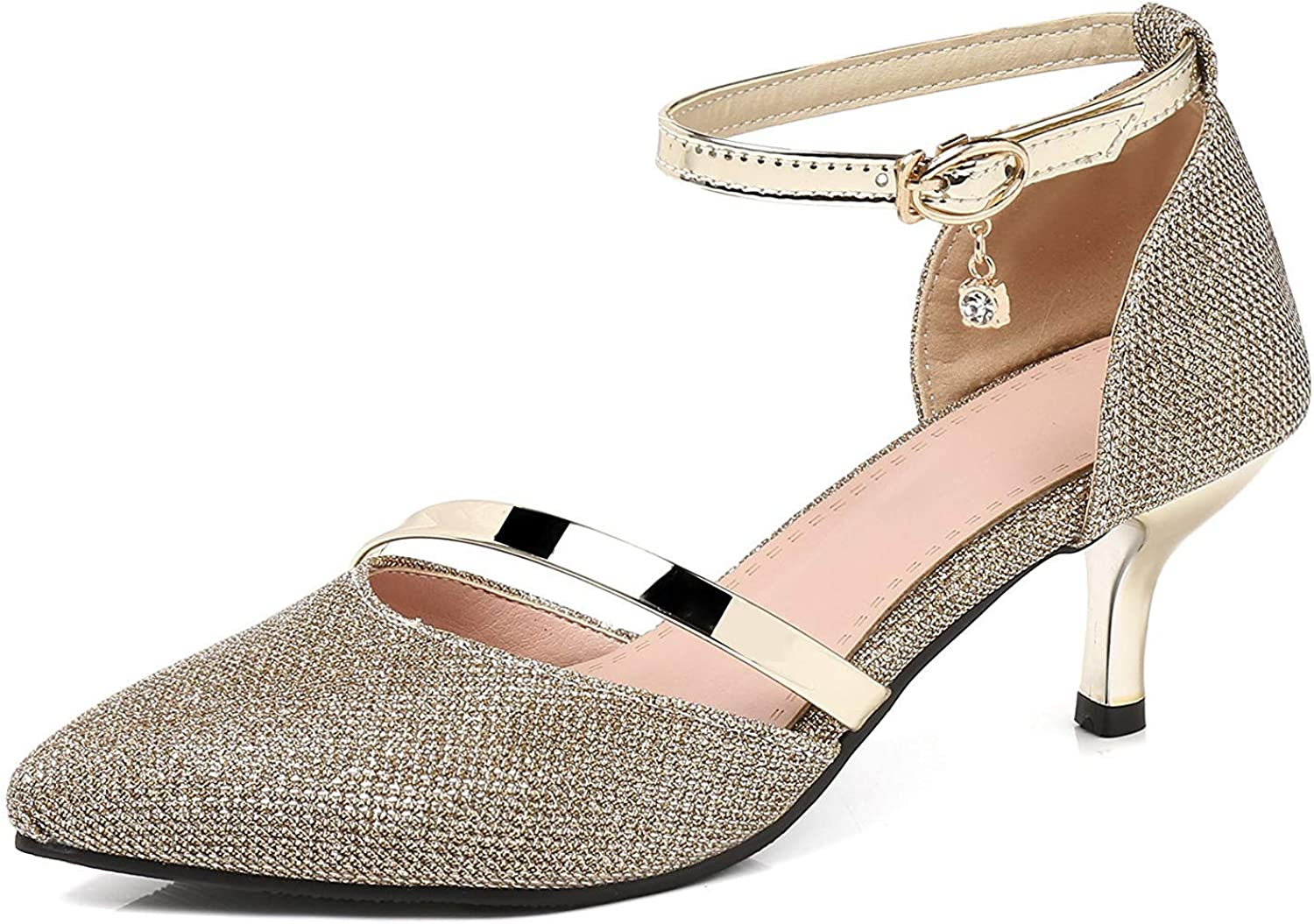 Unm Women's Closed Toe Sandals with Ankle Strap - D'Orsay Kitten Heel - Bridal Buckled Stilettos