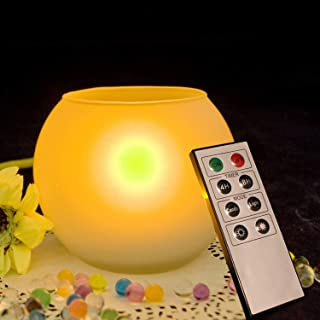 Battery Operated Flameless LED Candle Remote Timer- Large Size Electric Tea Light with White Frosted Glass Candle Holder R...