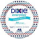 """Dixie Everyday Paper Plates, 8 1/2"""", 48 count, Patriotic Seasonal Design, Lunch or Light Dinner Size Disposable Plate"""
