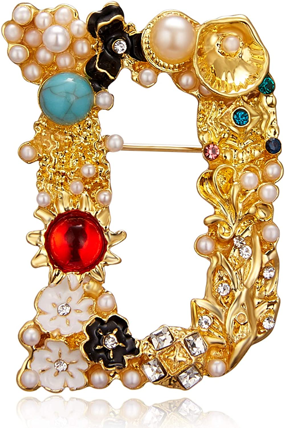 RINHOO Pearl Initial Brooch Pin 26 Alphabet A-Z Letters Online limited Popular popular product Crystal
