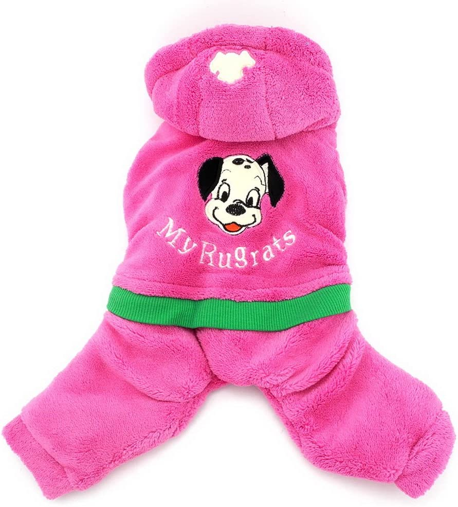 SELMAI Doggie Patch Fleece Coat Hooded Jumpsuit for Small Dog Cat Puppy Blue XS