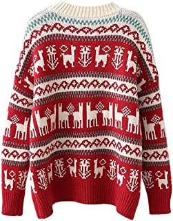 Women Merry Christmas Elk Print Knit Sweater Pullover Top Loose Hem Wrap Tops Casual Sweatshirt Jumpers Blouse