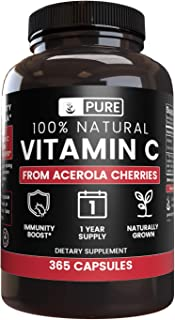 Natural Vitamin C from Acerola Cherry (365 Capsules) No Synthetic Ascorbic Acid, 100% Pure & Non-GMO (535 mg Serving)