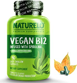 NATURELO Vegan B12 with Organic Spirulina - Natural Supplement for Energy, Metabolism and Stress - High Potency 1000 mcg B...