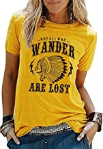 Nlife Women NOT All WHO Wander are Lost T-Shirt Short Sleeves Crew Neck Tops T-Shirt
