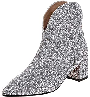 Womens Sparkly Glitter Cowboy Mid Block Heel Ankle Boots Charming Dress Booties