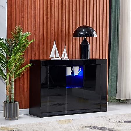 Black Tall 83cm Cabinet High Gloss Fronts Display Shelf Cupboard Buffets RGB LED