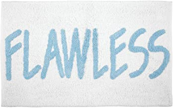 mDesign Plush, Cushioned Conversation Bath Mat Rug with Writing for Bathroom Floor - Light Blue/White