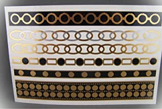 Chain Link Bracelet Tattoos Metallic Body Jewelry Temporary Gold Black Silver Crystal Fashion Bangle Jewelry For Women