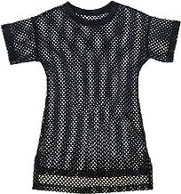 WINJEE, Vestido de Camiseta de Malla Transparente para Mujer, de Manga Corta Crochet, Ahueca hacia Fuera Traje de baño de Rejilla Cúbrete Lado Jersey Extragrande Sudadera Túnica Negro