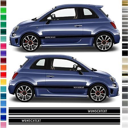Auto Dress Seiten Streifen Aufkleber Set Dekor Passend Für Abarth 500 595 In Wunschfarbe Schwarz Glanz Auto