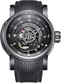 Reef Tiger Unique Automatic Watches Black PVD Case Rubber Strap Sport Watch RGA30S7