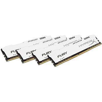 Kingston Technology HyperX Fury White 64GB 2933MHz DDR4 CL17 DIMM(Kit of 4) Memory HX429C17FWK4/64