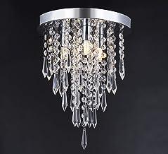 Jaycomey Mini Chandelier, Modern Crystal Chandeliers Lighting LED Flush Mount Ceiling Light, Hanging Ceiling Chandelier Li...