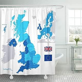 Semtomn Decorative Shower Curtain Ireland UK Administrative Region Map England Scotland Northern Wales 72