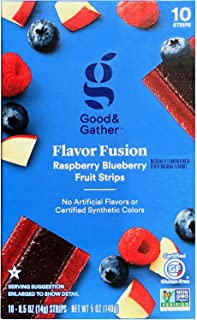 Flavor Fusion Fruit Strips Fruit Leathers Healthy Snack Made with Real Fruit Puree Concentrate Good and Gather 10 Strips (Raspberry Blueberry)