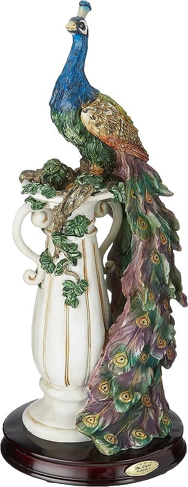 Design toscano, statua per decorazione di interni, poliresina, a colori, 43 cm, santuario del pavone KY1088