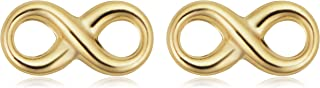 KoolJewelry 14k Yellow Gold Infinity Stud Earrings with Scew Backs