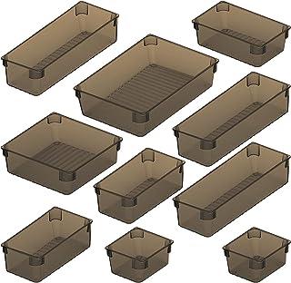 Organisateur de Tiroir Lot de 10, Eletorot Organisateur de Bureau pour tiroir Cosmétiques Plastique Boîte Stockage,Organis...