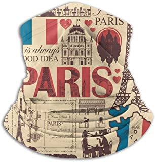 France and Paris Theme Neck Gaiter Windproof Scarf Face Masks Anti-Dust for Men
