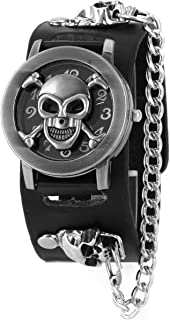 ALIENWOLF Fashion Men Punk Rock Skull Skeleton Leather Band Unisex Bracelet Wrist Watch
