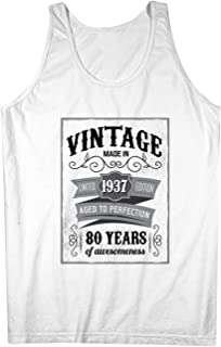 Vintage Made In 1937 80 Years お誕生日 男性用 Tank Top Sleeveless Shirt