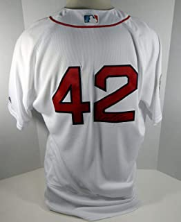 2018 Boston Red Sox Marco Hernandez #42 Game Issued White Jackie Robinson Jersey - Game Used MLB Jerseys