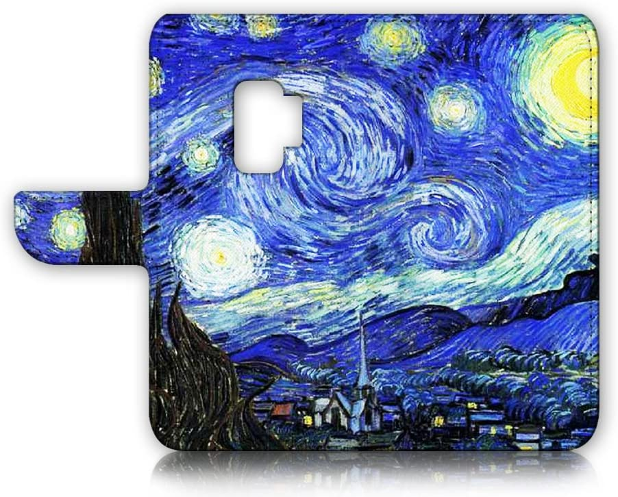 (for Samsung S9+ / Galaxy S9 Plus) Flip Wallet Case Cover & Screen Protector Bundle - A0066 The Starry Night Van Gogh